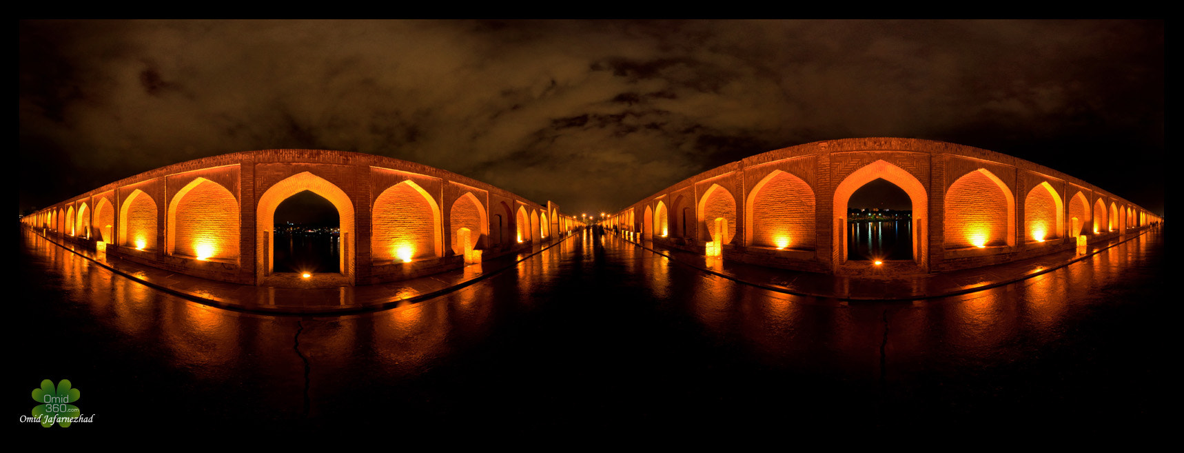 Photograph Si-o-seh Pol in Rainy Night pano by Omid Jafarnezhad on 500px