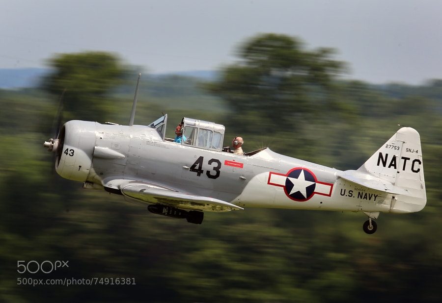 A World War Two era North American Aviation SNJ Texan skims the treetops on takeoff.  BTW, the 600mm was handheld.