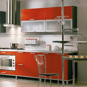 Italian Kitchen Design Red Open Layout Fitted Cabinets Chrome Chimney Sleek Modern Elegant Look Smal