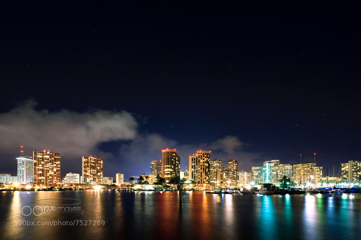 Photograph alawai boat harbour and waikiki night lights by MICHAEL SANTOS on 500px