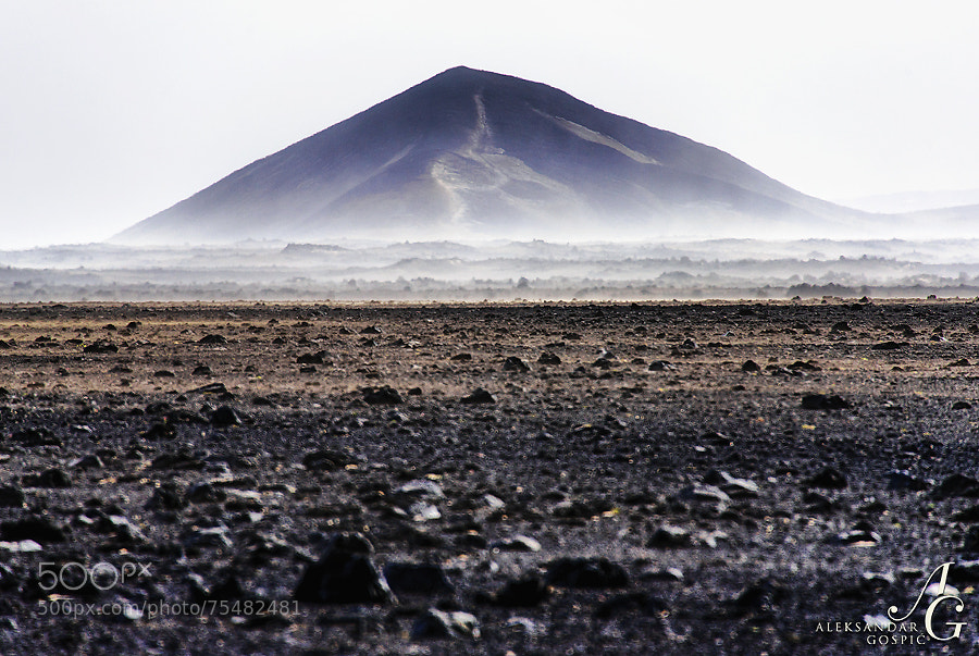 Dust storm in the endless central volcanic highlands of Iceland, driven by strong south wind