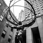 Постер, плакат: Atlas statue Rockefeller Center New York City bw