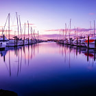 Постер, плакат: A calm evening at Half moon bay marina