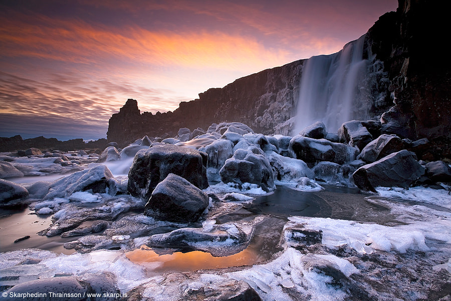 Öxarárfoss in Winter Dress by Skarpi Thrainsson on 500px