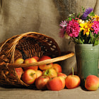 Постер, плакат: The autumn flowers and the red apples