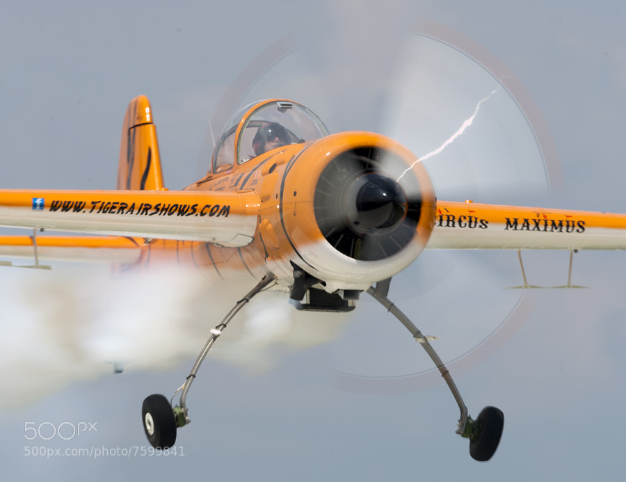 """Buck Roetman flying """"Zeke"""" does a low pass by me"""