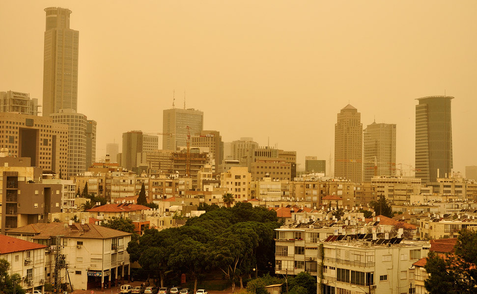Photograph Tel-Aviv and Rama-Gan skyline during a duststorm by Ori Ron on 500px