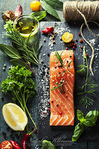 Delicious  portion of  fresh salmon fillet  with aromatic herbs, by Kimberly Potvin on 500px