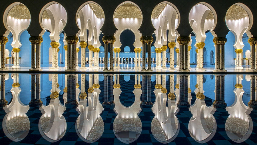 Photograph Reflected Symmetry @ Sheikh Zayed Grand Mosque by Jiti Chadha on 500px