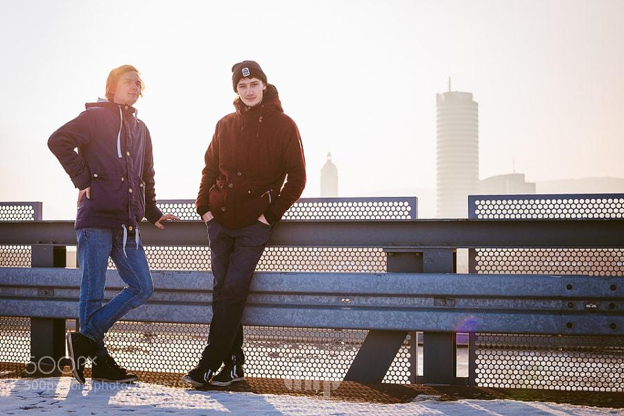 View on black!  Artist portrait of Götze & Wohlfahrt, two DJs from Germany, taken against the backdrop of Jena, Thüringen.