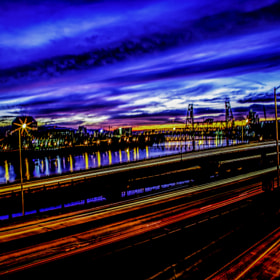A Long exposure of a portland Oregon summer sunset on the river.
