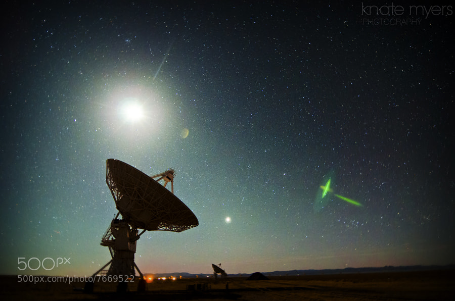 Photograph Moonset at the VLA by Knate Myers on 500px