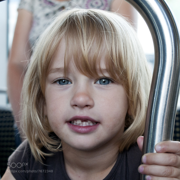 Nina on the tram in Talence (France), after a long day out. The tram turned out to be a very child friendly environment.