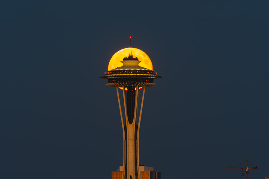 Supermoon at Space Needle deck by hisao mogi on 500px.com