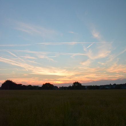 Sunset over the linen field.