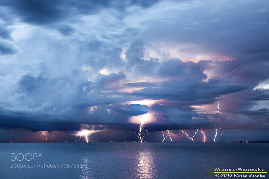 Photograph Adriatic sea lightning barrage by Marko Korošec on 500px