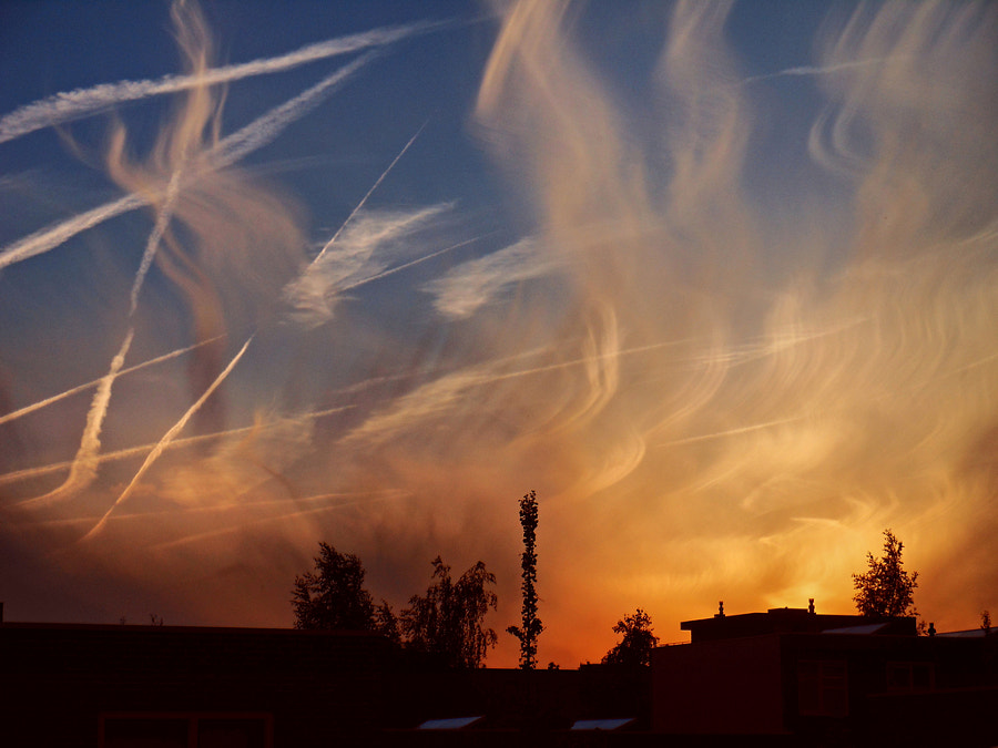Cirrus clouds with contrails at sunset