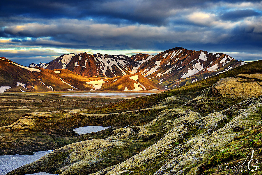 After midnight sun found the way through the clouds to visit volcanic peaks of Landmannalaugar
