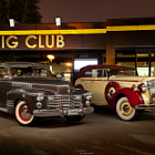 Постер, плакат: 1941 Cadillac Series 62 Coupe & Packard in Konig Motor Club photo by Chensan