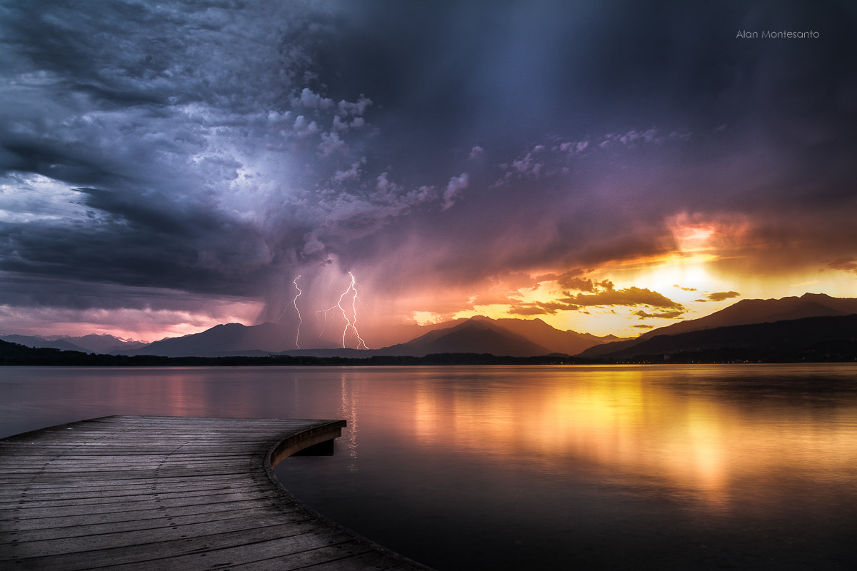 Photograph Lightning at sunset by Alan Montesanto on 500px