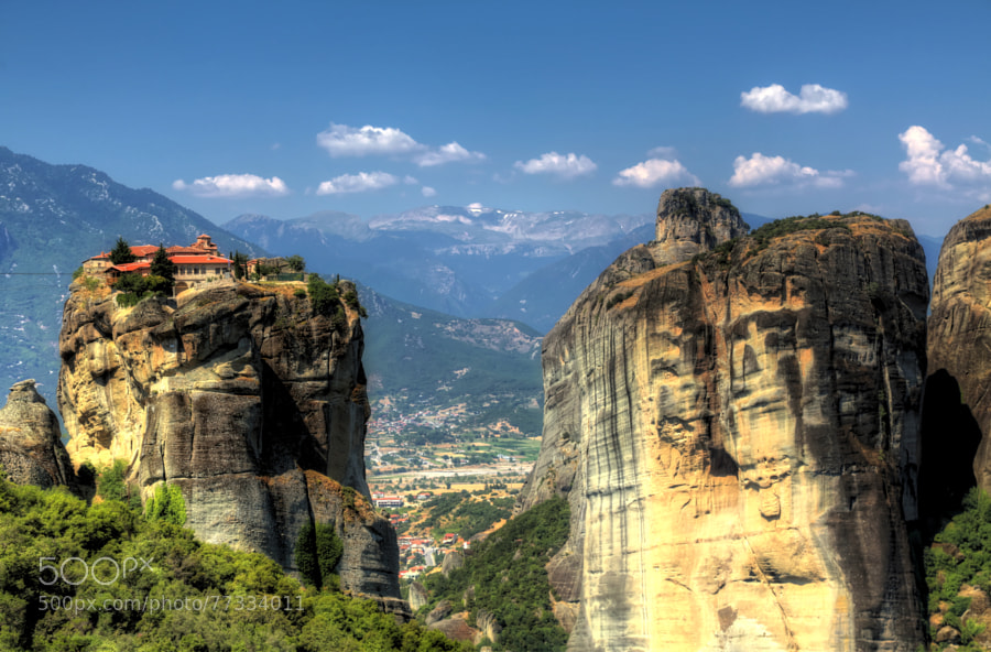 Photograph Kalambaka beneath the Meteora of Greece by Micah Goff