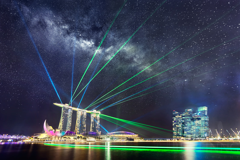Rising Milky Way above Marina Bay Sands and Spectacular Laser Show