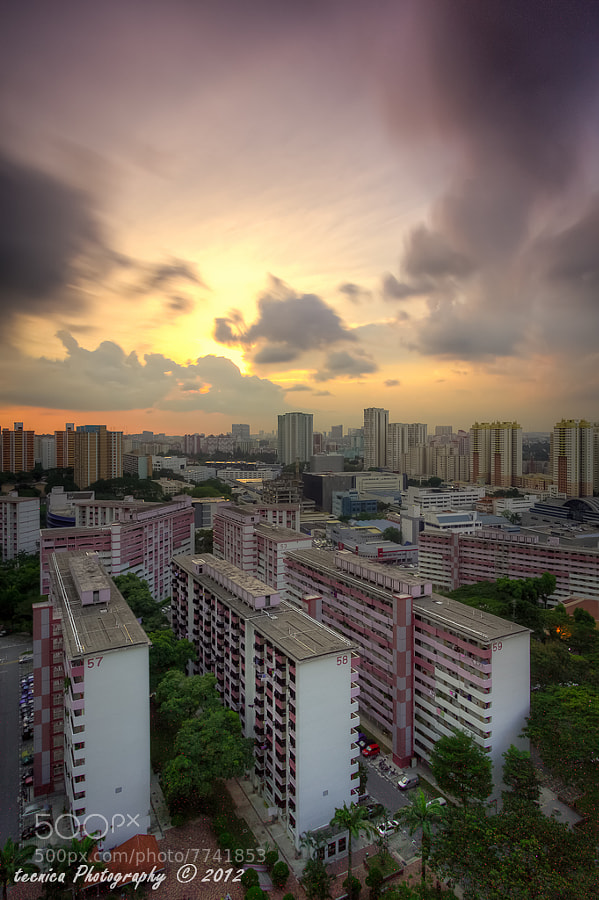 Redhill HDB Estate, Singapore<br/><br/>Last burst of fire before the storm clouds came in. Felt rather cheated by the weather as it was blue sky all the way until sunset hour when the weather erratically changed for the worse.
