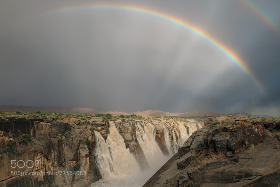 Augrabies Falls Double Rainbow by stockfootagesa