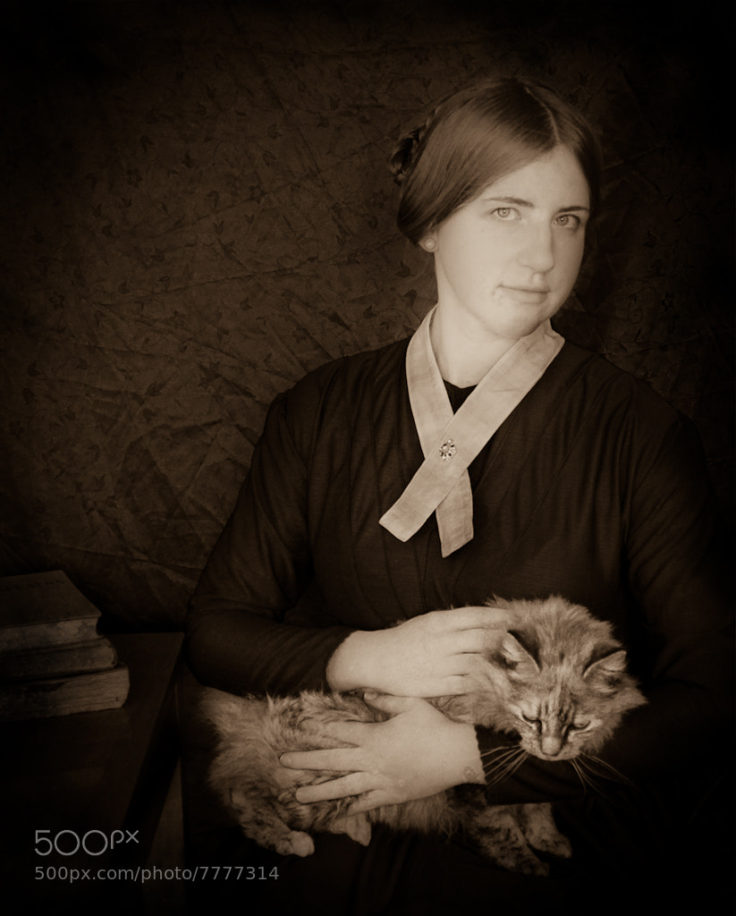 Photograph Lady with a cat. Historical transformation II by Dace Znotina on 500px