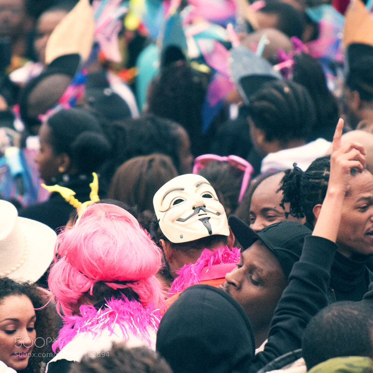 The mask kind of stood out from the crowd at the Bordeaux carnaval (France). Not very anonymous ;)
