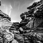 Постер, плакат: rock landscape black and white