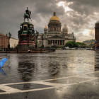 Постер, плакат: a blue umbrella