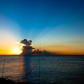 A fisherman at sunset in Martinique, Caribbean