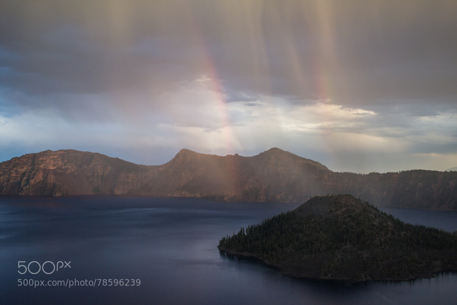 Double Rainbow Forming over Crater Lake by alexrandmcintosh