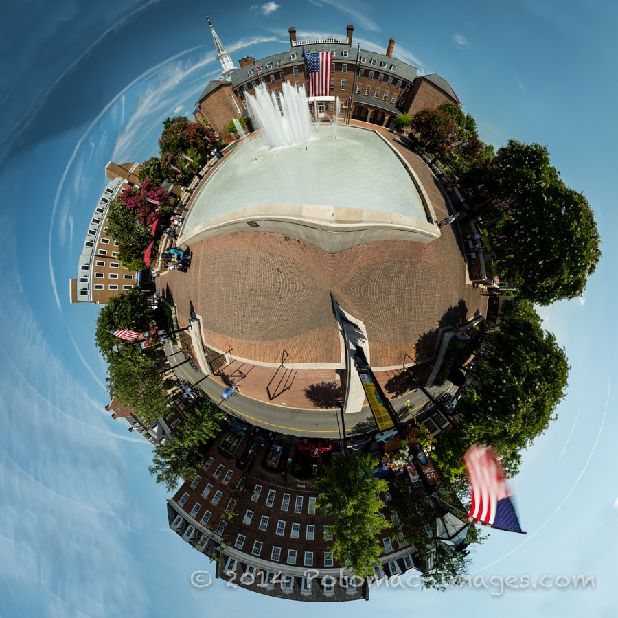 This is a 360 degree panorama converted to polar coordinate perspective of the City of Alexandria City Hall and Market Square.
