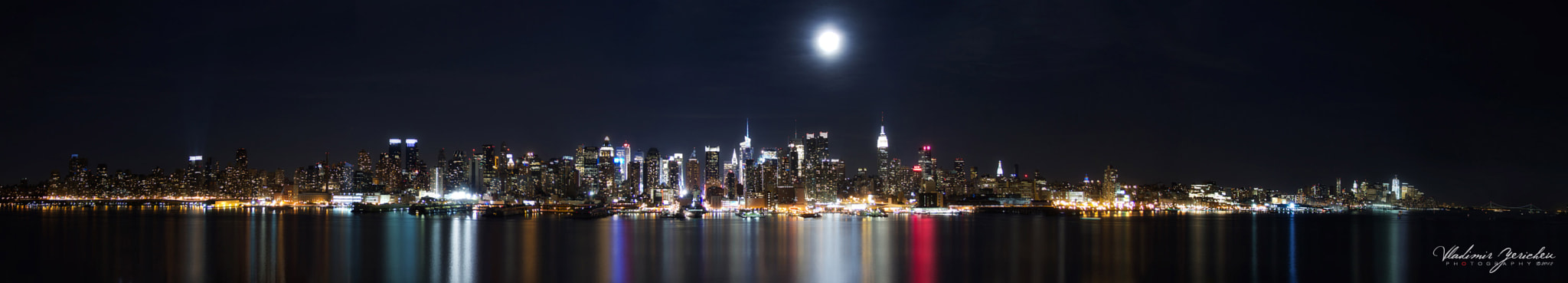 Photograph Panoramic New York City with full moon… by Vladimir Yerichev on 500px