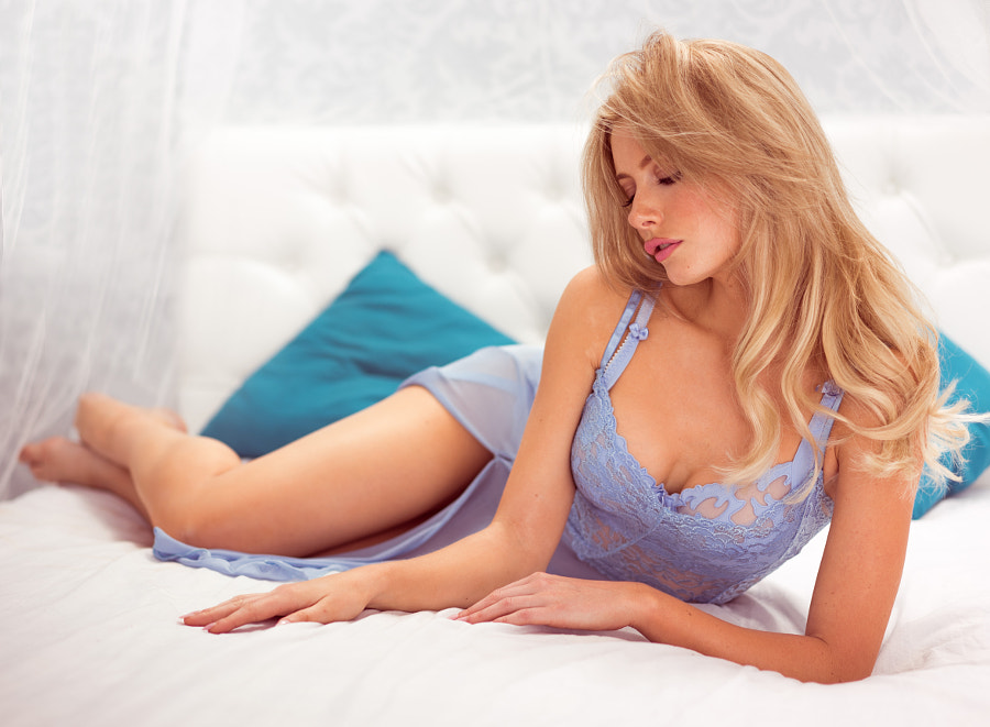 Woman blue lingerie photo