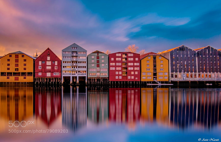 Photograph AWESOME Reflection in Nidelva, Bakklandet, Trondheim by Aziz Nasuti on 500px