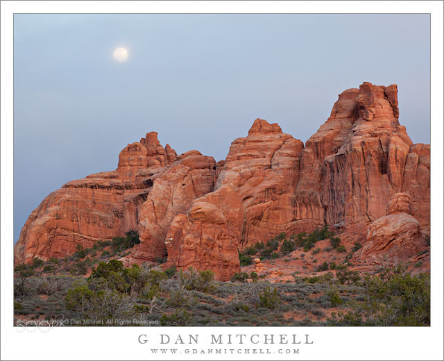 Photograph Sandstone Towers, Moon Rising Through Clouds by G Dan Mitchell on 500px