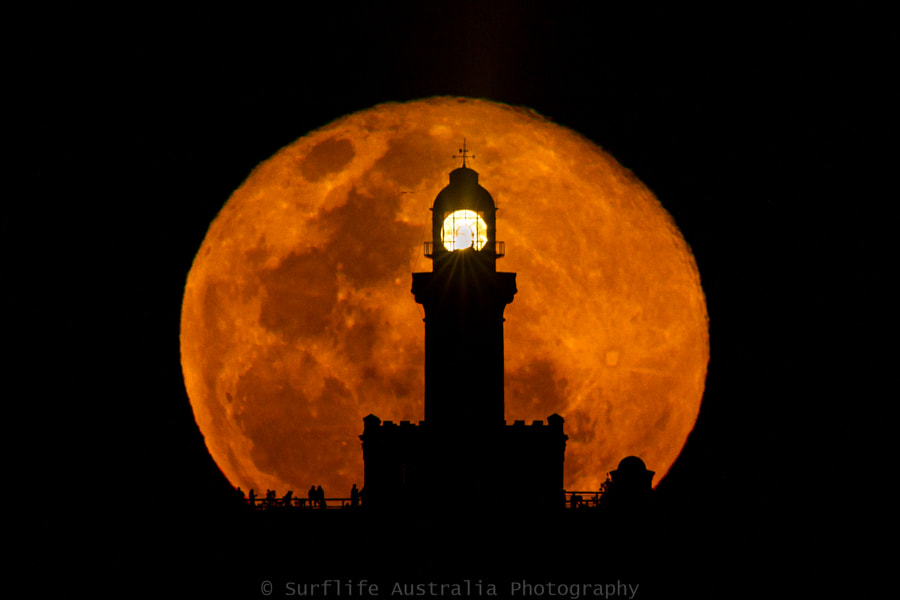 Photograph Cape Byron Lighthouse, Full Moon Silhouette by Luke Taylor on 500px