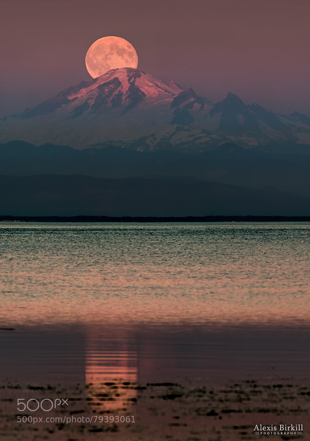 Photograph The Moon over Mount Baker by Alexis Birkill on 500px