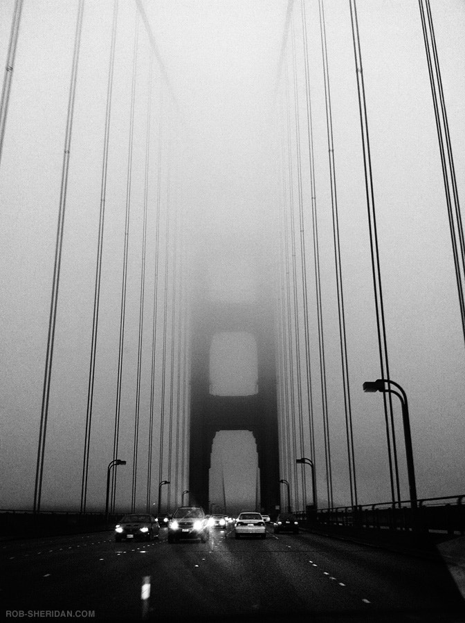 Photograph Golden Gate Bridge in fog. 2010 (iPhone 4) by Rob Sheridan on 500px