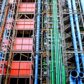Exposed pipes on the exterior of Centre Georges Pompidou, Paris, France
