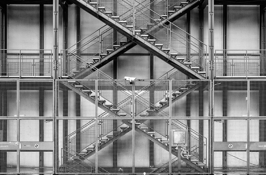 Exterior stairs on the Pompidou Centre, Paris, France