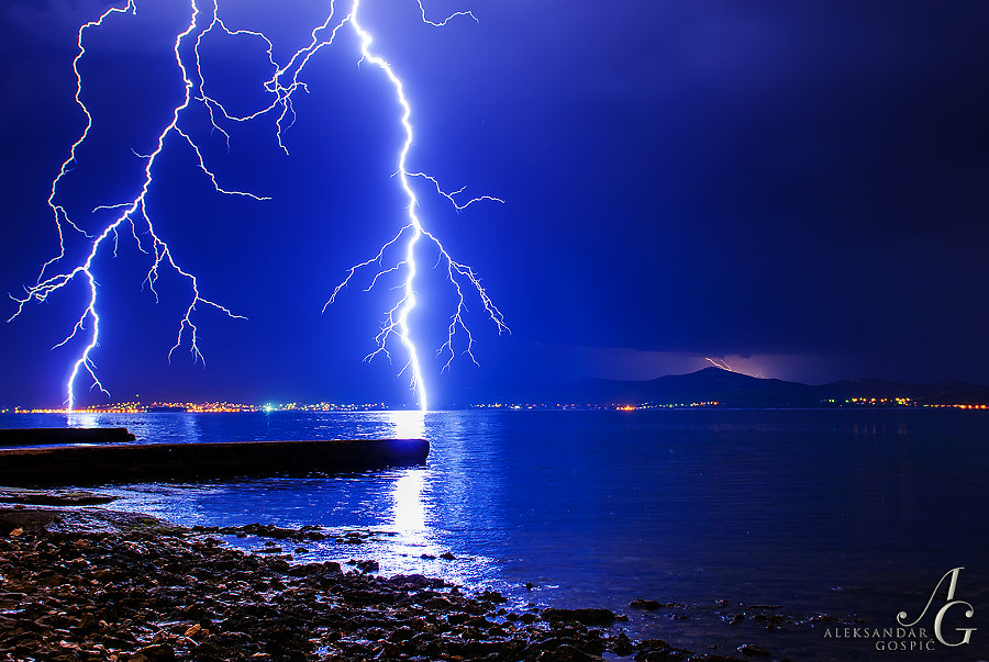 Lightning strike in the Zadar Channel as this evening's storm approaches Zadar from the sea