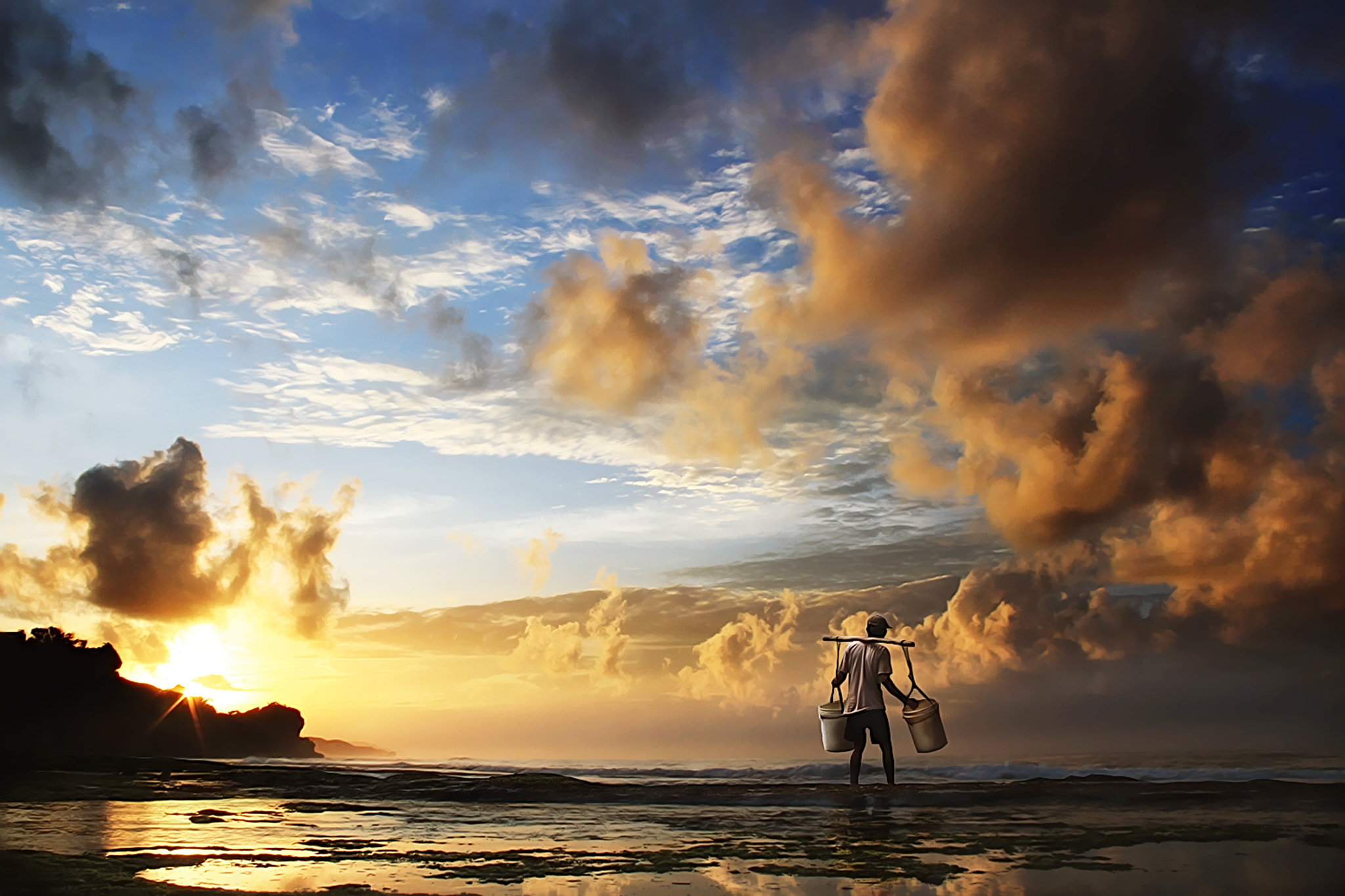 Photograph fisherman (Kukup Beach) by 3 Joko on 500px
