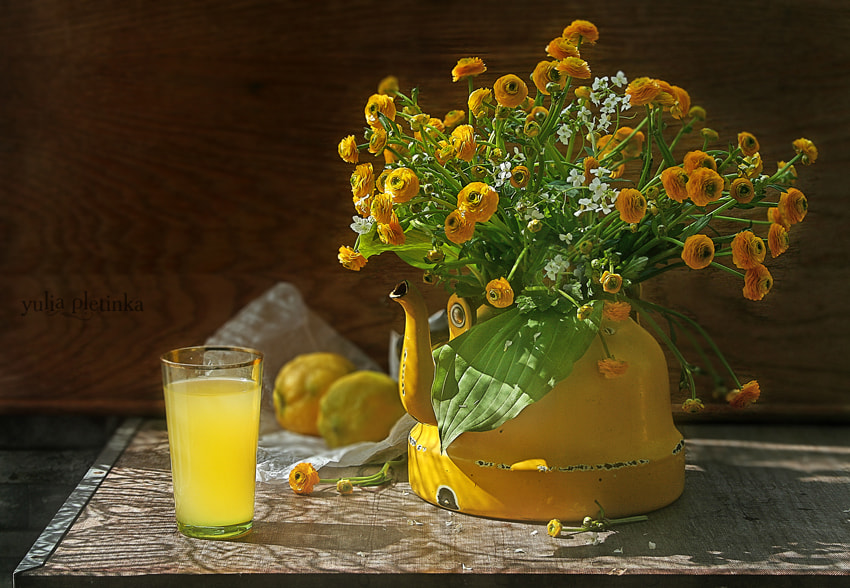 Photograph summer, yellow teapot and lacy shadows :) by Yulia Pletinka on 500px