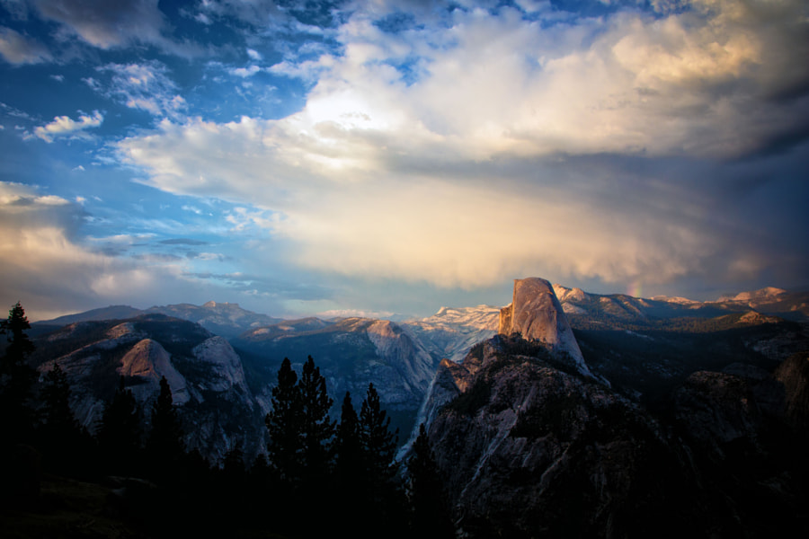 I just got back from my first trip to Yosemite National Park with my family. In all sincerity, it is hard to describe just how amazing it is there. The scale of it all is unbelievable. You really have to see it for yourself. If you've been, you know what I mean.  This is perhaps my favorite photo from the trip. It was taken from Washburn Point.  We were intending to go to Glacier Point, and we ultimately did, but when we came around the corner on Glacier Point Road and saw this view, we immediately pulled in and jumped out.  I'll never forget this trip.