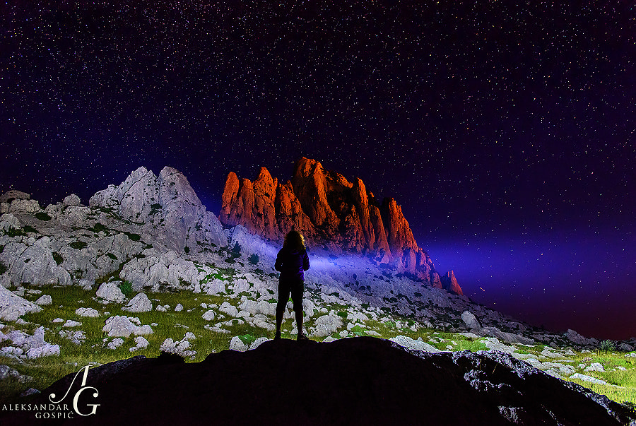 Velebit mountain night with the light dose of human touch