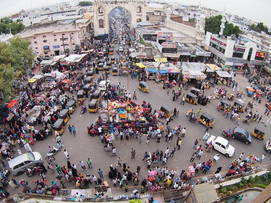 Charminar traffic and market by Guilhem on 500px.com